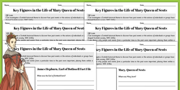 Mary Queen of Scots Key Figures Fact File Pack - fact file, scotland