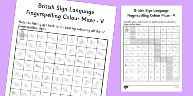 British Sign Language Left Handed Fingerspelling Colour Maze V