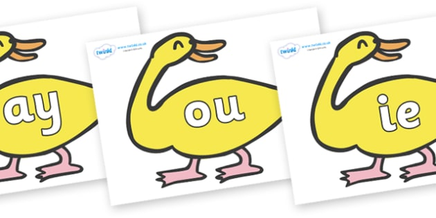 Phase 5 Phonemes on Yellow Duck to Support Teaching on Brown Bear, Brown Bear - Phonemes, phoneme, Phase 5, Phase five, Foundation, Literacy, Letters and Sounds, DfES, display