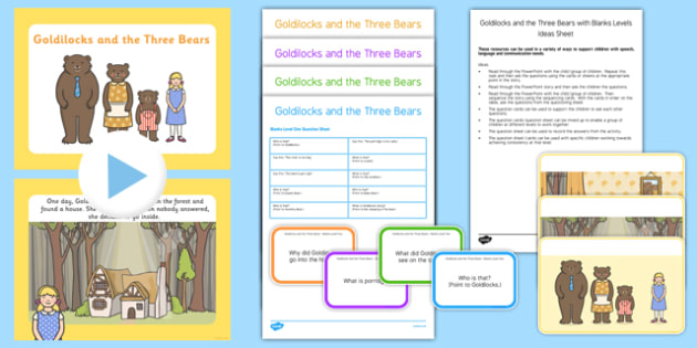 Goldilocks and the Three Bears with Blanks Levels Questions - receptive language, expressive language, verbal reasoning, language delay, language disorder, comprehension, autism, Language for Thinking