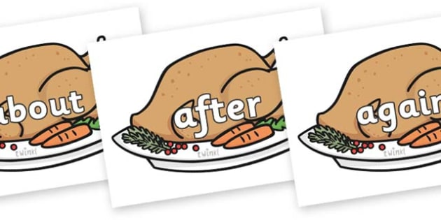 KS1 Keywords on Christmas Turkeys - KS1, CLL, Communication language and literacy, Display, Key words, high frequency words, foundation stage literacy, DfES Letters and Sounds, Letters and Sounds, spelling