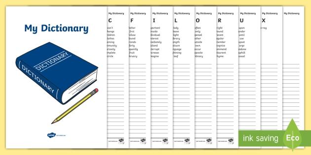 My Dictionary Workbook - dictionary, workbook, my dictionary
