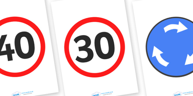 Traffic Role Play Signs - traffic signs, signs, road signs, speed limit, give way, no entry, roundabout, stop, traffic lights