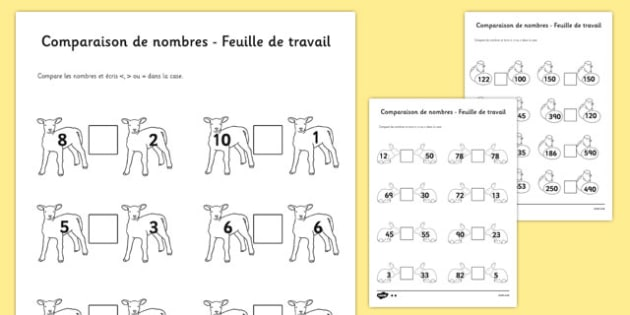 Spring Number Comparison Worksheet French - EAL, translated, more, less, compare
