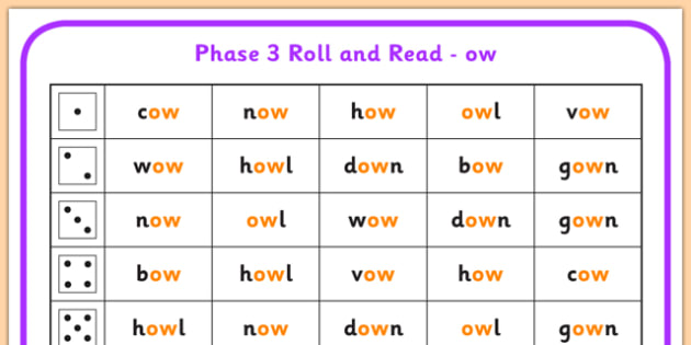 Phase 3 ow Phoneme Roll and Read Mat - phase 3, roll, read, mat