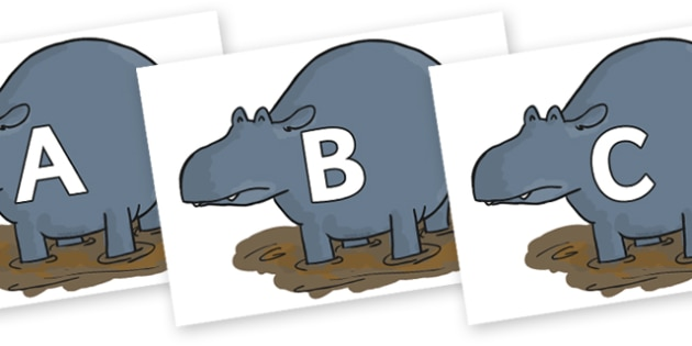 A-Z Alphabet on Humpy Rumpy Hippopotamus to Support Teaching on The Enormous Crocodile - A-Z, A4, display, Alphabet frieze, Display letters, Letter posters, A-Z letters, Alphabet flashcards