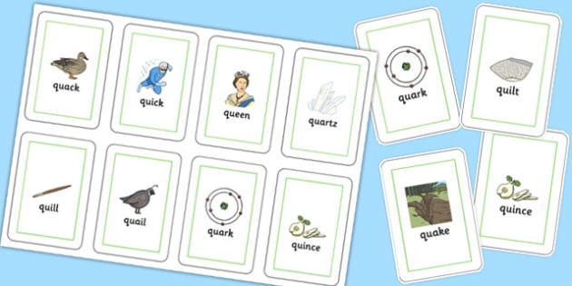 QU Flash Cards - speech sounds, phonology, articulation, speech therapy, cluster reduction