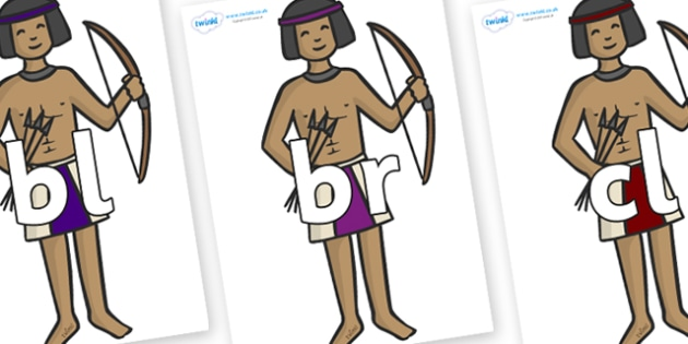 Initial Letter Blends on Egyptian Archers - Initial Letters, initial letter, letter blend, letter blends, consonant, consonants, digraph, trigraph, literacy, alphabet, letters, foundation stage literacy