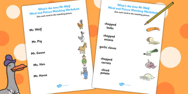 Word and Picture Match to Support Teaching on What's The Time, Mr Wolf? - match, mr wolf