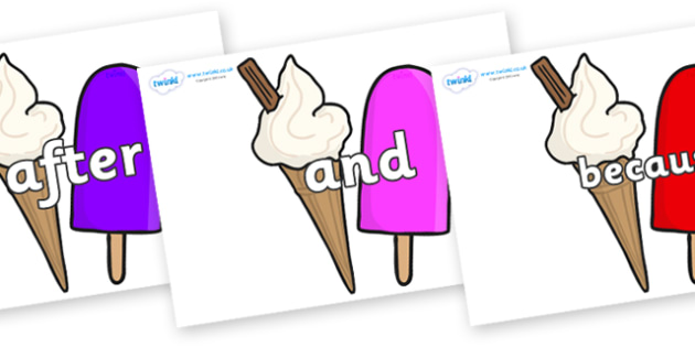 Connectives on Ice Cream and Lollies - Connectives, VCOP, connective resources, connectives display words, connective displays