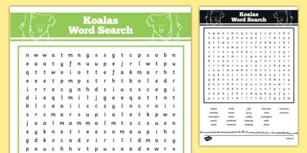 Australian Animals Years 3-6 Koalas Word Search - australia, Australian Curriculum, animals, marsupials, koalas, activity, wordsearch
