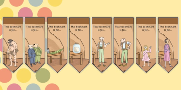 Editable Bookmarks to Support Teaching on The BFG - bfg, bookmarks, editable, reading