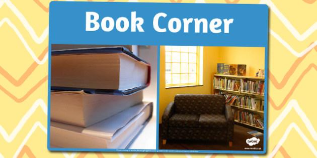 Book Corner Photo Sign - book corner, area, photo, sign, display