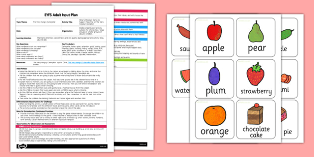What's Missing Game EYFS Adult Input Plan and Resource Pack to Support Teaching on The Very Hungry Caterpillar - EYFS, Early Years planning, adult led, Eric Carle, minibeasts, Listening and Attention, concentration, CL, Communication and Language.