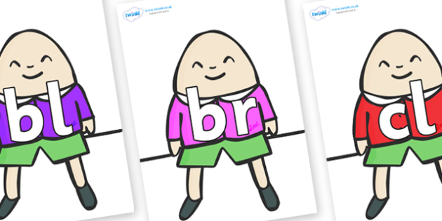 Initial Letter Blends on Humpty Dumpty - Initial Letters, initial letter, letter blend, letter blends, consonant, consonants, digraph, trigraph, literacy, alphabet, letters, foundation stage literacy