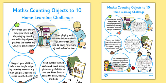 EYFS Maths Counting Objects to 10 Home Learning Challenge Sheet - eyfs, maths, counting