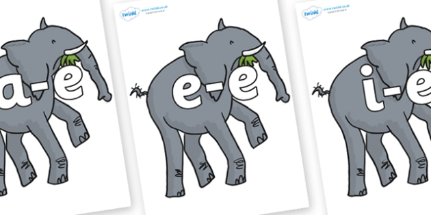Modifying E Letters on Trunky The Elephant to Support Teaching on The Enormous Crocodile - Modifying E, letters, modify, Phase 5, Phase five, alternative spellings for phonemes, DfES letters and Sounds