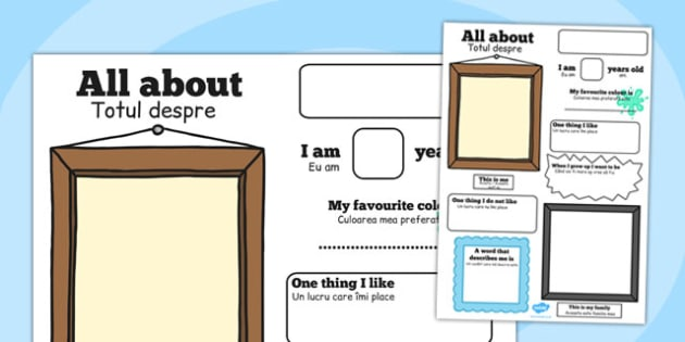 All about Me Poster Romanian Translation - display, PSHE, KS1, KS2,