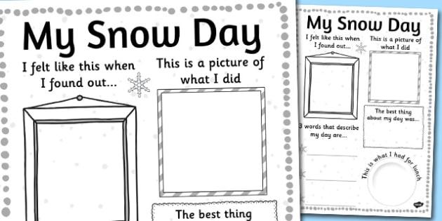 Snow Day Write Up Sheet - write up, sheet, worksheet, snow day