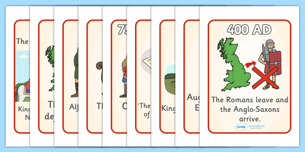 Anglo Saxons Timeline Sequencing Posters - Anglo Saxon, Saxons, Anglo-saxon, history, sequencing, story sequencing, story resources, A4, posters, Northumbria, Kent, bronze helmet, East Anglia, Bayeux Tapestry, St. Bede, Offa's Duke, jewellery, Wessex