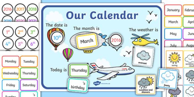 Sky Themed Display Calendar - sky, calendar, display, dates