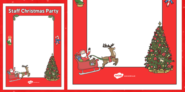Staff Christmas Party Poster Template - staff, christmas party, poster, staff room