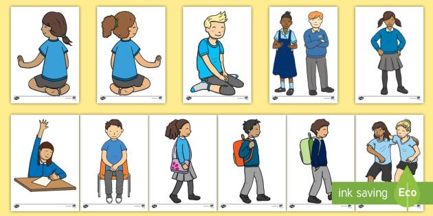 Children in Blue Uniform Display Cut Outs - children, blue uniform, blue, uniform, display, cut outs