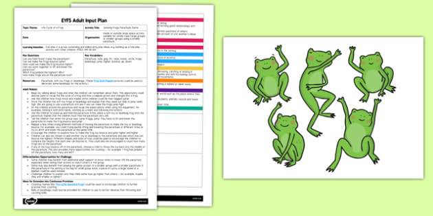 Jumping Frogs Parachute Game EYFS Adult Input Plan and Resource Pack - EYFS, Early Years planning, adult led, life cycle of a frog, PSED, Personal, Social, Emotional Development.