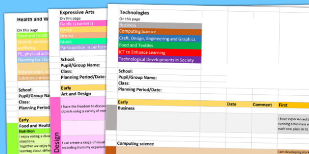 Scottish Curriculum for Excellence Overview Planning Spreadsheet