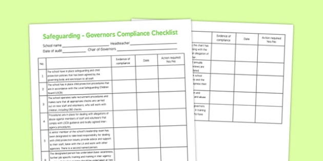 Safeguarding Governors Compliance Checklist - safeguarding, governors, compliance, checklist
