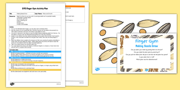 Making Seeds Grow EYFS Finger Gym Plan and Resource Pack - posting, plants, growth, baby room, growing, bean, beanstalk