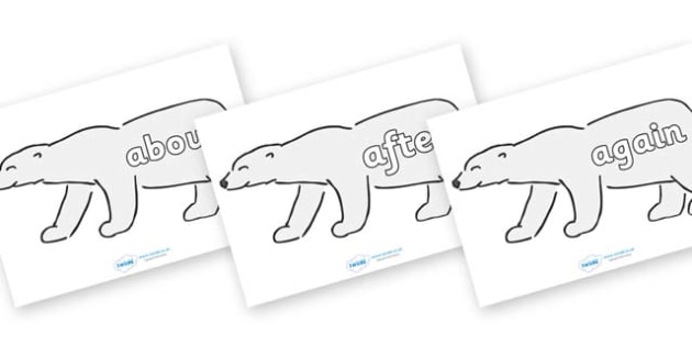 KS1 Keywords on Polar Bears - KS1, CLL, Communication language and literacy, Display, Key words, high frequency words, foundation stage literacy, DfES Letters and Sounds, Letters and Sounds, spelling