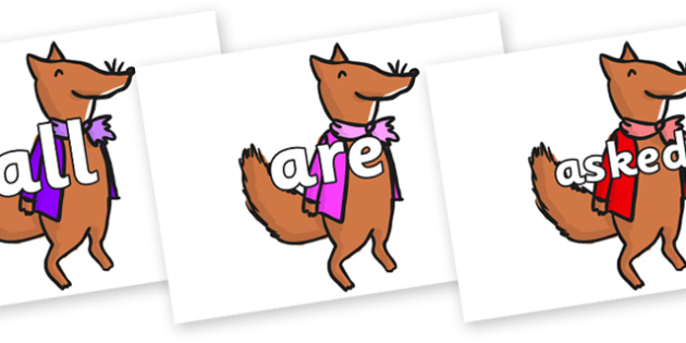 Tricky Words on Small Fox 1 to Support Teaching on Fantastic Mr Fox - Tricky words, DfES Letters and Sounds, Letters and sounds, display, words