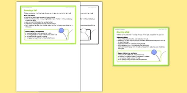 Foundation PE (Reception) - Bouncing a Ball Teacher Support Card - EYFS, PE, Physical Development, Planning