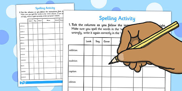 Look Say Cover Write Check Spelling Activity Words Ending in tion