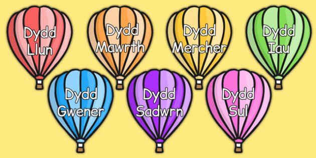 Days of the Week on Hot Air Balloons (Plain) Welsh - cymraeg, days, week, hot air balloons