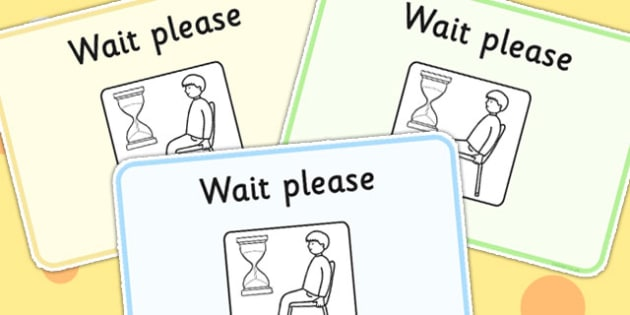 Waiting Cards - SEN, learning support, support cards, visual aids