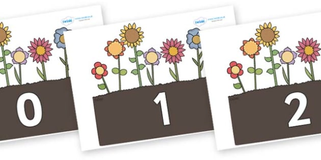 Numbers 0-100 on Garden Flowers - 0-100, foundation stage numeracy, Number recognition, Number flashcards, counting, number frieze, Display numbers, number posters
