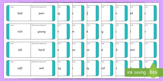 Antonyms Loop Cards - antonyms, antonym loop cards, antonym activity, antonym game, ks2 literacy games, ks2 literacy, antonyms and synonyms, ks2 words