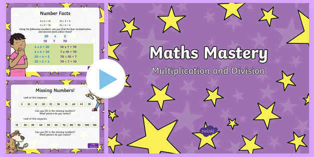 Year 1 Maths Mastery Multiplication and Division PowerPoint - Year 1, Maths Mastery, multiplication, multiply, times, lots of, groups of, times table, inverse, di