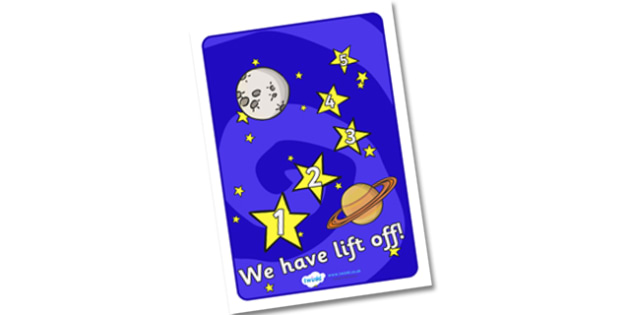 We Have Lift Off Display Poster - space, space ship, rocket, we have lift off, display, poster, sign, banner, moon, astronaut, alien