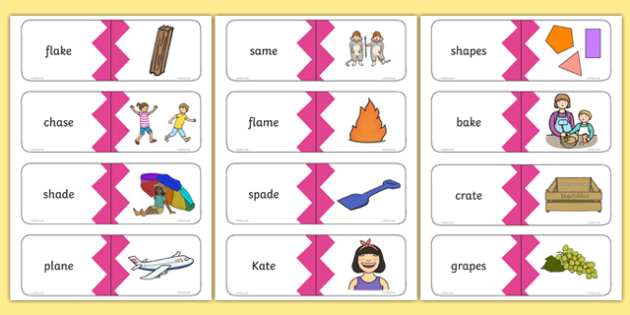 5 Real a-e Split Digraph Words Matching Cards, silent e