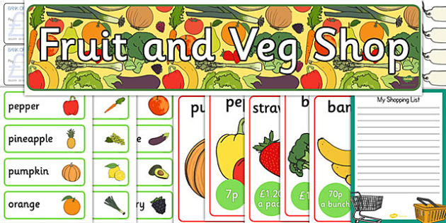 Fruit And Veg Shop Role Play Pack - Role Play Pack - Fruit and Vegetable Shop Role Play Pack, fruit, vegetables, shop, produce, customer, till, role play, display, posterrole play, Display signs, display, labels, pack