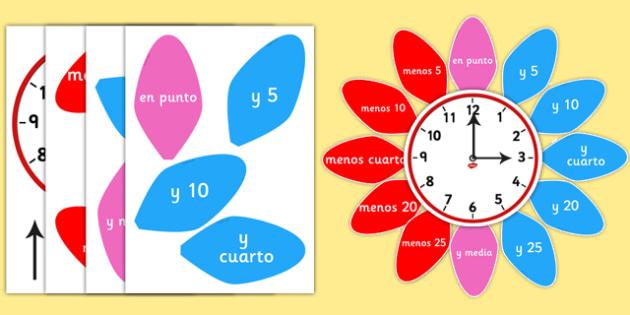 Analogue Clock Flower Labels Spanish - spanish, analogue, clock, flower, labels