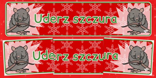 Świąteczny banner Uderz szczura po polsku - kiermasz, gra