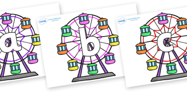 Phoneme Set on Ferris Wheels - Phoneme set, phonemes, phoneme, Letters and Sounds, DfES, display, Phase 1, Phase 2, Phase 3, Phase 5, Foundation, Literacy