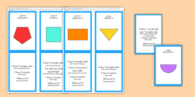 2D Shape What Am I? Game Polish Translation - polish, 2D shapes, circle, semi-circle, triangle, square, rectangle, pentagon, hexagon, octagon