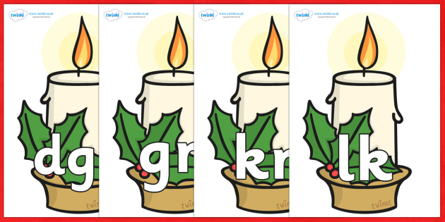 Silent Letters on Christmas Candle - Silent Letters, silent letter, letter blend, consonant, consonants, digraph, trigraph, A-Z letters, literacy, alphabet, letters, alternative sounds