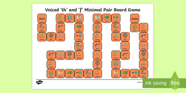 Voiced 'th' and 'f' Minimal Pair Board Game - voiced th, fricatives, speech sounds, minimal pairs, articulation, phonology, dyspraxia