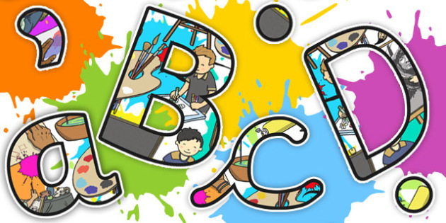 Art Themed A4 Display Lettering - display, lettering, art, a4
